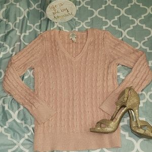 St. John's Bay Cable Knit V-Neck Pullover Sweater